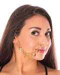Bollywood Nose Chain with Coins & Bells - GOLD