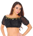 Chiffon Gypsy Belly Dancer Bollywood Half Top with Coins - BLACK / GOLD