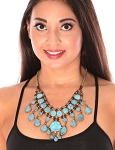 Deluxe Afghani Kuchi Tribal Teardrop Necklace - TURQUOISE BLUE