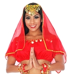 Chiffon Head or Face Veil with Gold Trim - RED