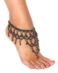 Metal Chain Belly Dance Anklet with Loops & Bells - HEMATITE