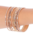 Etched Metal Bangles SET of 12 - GOLD