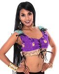 Embroidered Tribal Lace-Up Choli Top - PURPLE GRAPE