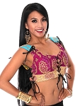 Embroidered Tribal Lace-Up Choli Top - PURPLE PLUM