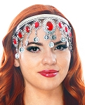 Arabesque Metal Head Piece with Coins & Jewels - SILVER / RED