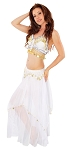 2-Piece Belly Dancer Costume with Coins - WHITE / GOLD