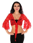 Lace Bell Sleeve Choli Tribal Belly Dance Top - RED