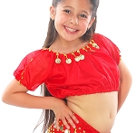 Kids Size Belly Dance Bollywood Costume Top with Coins - RED