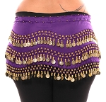 Plus Size 1X - 4X Chiffon Belly Dance Hip Scarf with Coins - PURPLE GRAPE / GOLD