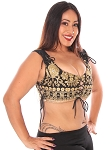 Embroidered Tribal Lace-Up Choli Top - BLACK
