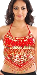 Chiffon Belly Dance Bollywood Costume Halter Top with Paillettes & Bells - RED