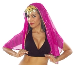 Chiffon Sparkle Dot Head Veil with Gold Trim - FUCHSIA