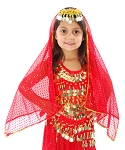 Chiffon Sparkle Dot Head Veil with Gold Trim - RED