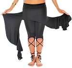 Asymmetric Belly Dance Fusion Overskirt with Side Ruffles - BLACK