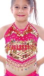 Little Girls Belly Dance Bollywood Costume Halter Top with Paillettes & Bells - ROSE PINK