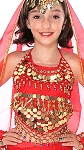 Little Girls Belly Dance Bollywood Costume Halter Top with Paillettes & Bells - RED