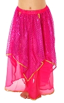 Kids Chiffon Sparkle Belly Dancer Costume Skirt - ROSE PINK / FUCHSIA
