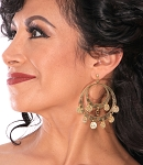 Double Hoop Coin Belly Dance Earrings - GOLD