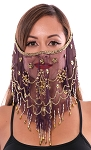 Ornate Harem Belly Dancer Costume Face Veil Accessory - DARK PURPLE