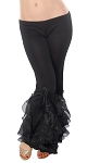 Belly Dance Stretch Pants with Ruffle Accents - BLACK