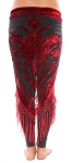 Burnout Velvet Rose Pattern Shawl Hip Scarf with Fringe - RED / BLACK
