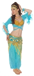 8-Piece Harem Pants Belly Dancer Costume - BLUE TURQUOISE