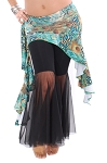 Asymmetric Belly Dance Fusion Overskirt with Side Ruffles - TURQUOISE PEACOCK