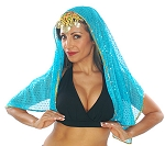 Chiffon Sparkle Dot Head Veil with Gold Trim - TURQUOISE
