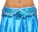 Sequin Beaded Belly Dance Belt with Teardrop Paillettes - TURQUOISE