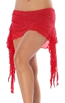 2-Layer Ruched Mesh & Lace Tribal Fusion Belly Dance Overskirt - RED