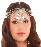 Metal Coin Headpiece with Large Medallion - SILVER