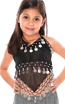 Little Girl's Chiffon Belly Dance Costume Halter Top with Coins - BLACK /  SILVER