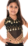 Little Girl's Chiffon Belly Dance Costume Halter Top with Coins - BLACK / GOLD