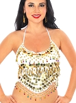 Chiffon Halter Top with Paillettes & Bells - WHITE