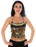 Chiffon Belly Dance Bollywood Costume Halter Top with Paillettes & Bells - BLACK