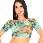 Comfy Stretch Half Top for Dance - TURQUOISE PEACOCK