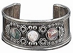 Hand-made Belly Dance Cuff Bracelet with Agates - SILVER