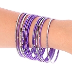 Etched Metal Bangles SET of 12 - PURPLE