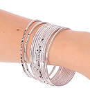 Etched Metal Bangles SET of 12 - SILVER