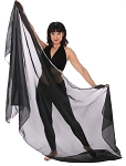 3 Yard Chiffon Belly Dance Veil with Sequin Trim - BLACK / SILVER