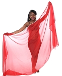 3 Yard Chiffon Belly Dance Veil with Sequin Trim - RED / SILVER