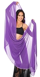 3 Yard Chiffon Belly Dance Veil with Sequin Trim - PURPLE GRAPE / SILVER