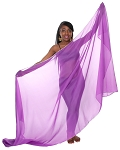 3 Yard Chiffon Belly Dance Veil with Sequin Trim - PURPLE / SILVER