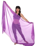 3 Yard Chiffon Belly Dance Veil with Sequin Trim - PURPLE / GOLD