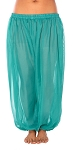 Sheer Chiffon Belly Dance Harem Pants with Side Slits - JASMINE GREEN