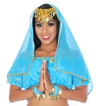 Chiffon Head or Face Veil with Gold Trim - TURQUOISE