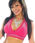 Swirl Studded Halter Dance Top - DARK PINK / SILVER