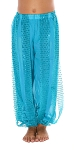KIDS Harem Pants with Sparkle Dot Panels - BLUE TURQUOISE