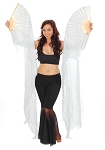 Belly Dancer Silk Fan Veils (Set of 2) - WHITE