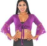 Tribal Gypsy Choli Top with Lace Butterfly Sleeves & Coins - PURPLE